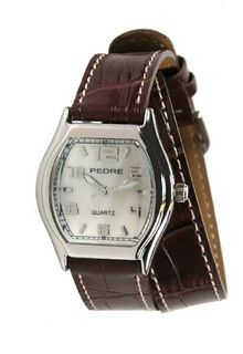 Pedre Silver-Tone with Brown Double Wrap Strap # 7904SX-Brown Double