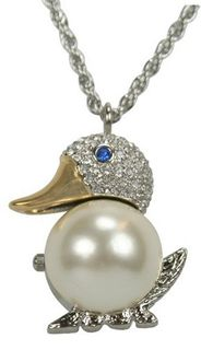 Pedre Two-Tone Crystal Adorned Faux Pearl Duck Pendant with Rope Neck Chain # 8530TX