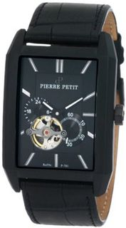 Pierre Petit P-781A Serie Paris Automatic Skeleton Black PVD Rectangular Leather
