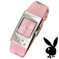 Playboy Bunny Logo Pink Strap Swarovski Crystals Stainless Steel Back Ladies Designer Fashion Official