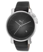 Black and Gray Dial Black Leatherette