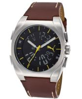 Black Dial Digital/Analog Brown Genuine Leather