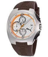 Chronograph Silver Textured Dial Brown Rubber