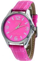 Q&Q #C192J315Y Midsize Pink Dial Leather Band Casual Analog