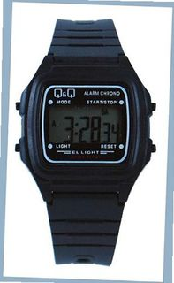 Q&Q #L116J003Y Black Rubber Band Alarm LCD Digital