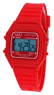 Q&Q #L116J013Y Unisex Colorful Red Alarm Chrono LCD Digital
