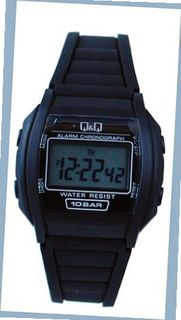 Q&Q #ML01J101Y Black Rubber Band Alarm LCD Digital