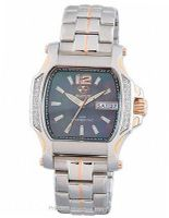 QUARK2: square, diamond, 2-tone rose gold, smoke MOP dial, bracelet