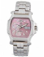 QUARK2: square, diamond, stainless, pink MOP dial, bracelet  Reactor