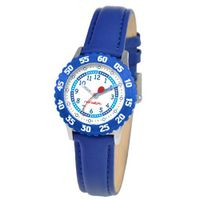 Red Balloon Kids' W000177 Blue Leather Strap Stainless Steel Time Teacher