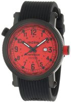 red line 18003-BB-05 Compressor Red Dial World Time Black Silicone