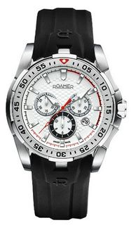 uRoamer of Switzerland Roamer R Power Chrono Quartz with White Dial Chronograph Display and Black Silicone Strap 750837 41 15 07