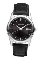 Rodania Swiss Celso Quartz with Black Dial Analogue Display and Black Leather Strap RS2507326