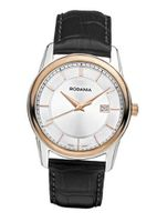 Rodania Swiss Celso Quartz with Silver Dial Analogue Display and Black Leather Strap RS2507323