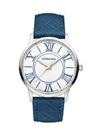 Rodania Swiss Maura Quartz with Silver Dial Analogue Display and Blue Leather Strap RS2506622