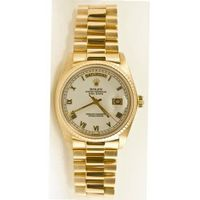 Rolex 18k Yellow Gold President Day Date Model 18238 White Roman Dial