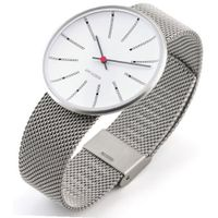 Rosendahl Arne Jacobsen Bankers Unisex Quartz with White Dial Analogue Display and Silver Stainless Steel Strap 43423