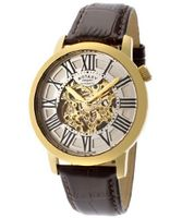 Automatic Gold IP Stainless Steel Case Silver/Gold Tone Skeletonized Dial Brown Genuine Leather