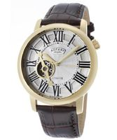 Automatic Gold Tone IP SS Case Silver Dial Brown Genuine Leather