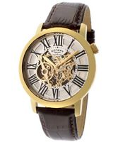 Automatic Gold Tone IP SS Case Silver/Gold Tone Skeletonized Dial Brown Genuine Leather