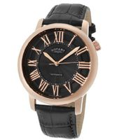 Automatic Rose Gold Tone IP Stainless Steel Case Black Dial Black Genuine Leather