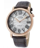 Automatic Rose Gold Tone IP Stainless Steel Case Silver Dial Brown Genuine Leather