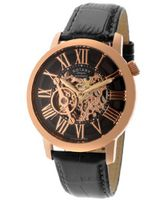 Automatic Rose Gold Tone Skeletonize Dial Black Genuine Leather