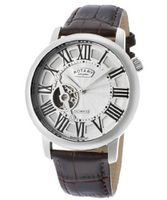 Automatic Silver Dial Brown Genuine Leather