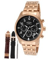 Chronograph Black Dial Rose Gold Tone Ion Plated Stainless Steel