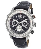 Chronograph Black Textured Dial Blue Genuine Leather