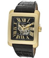 Editions Automatic Partially See Thru Dial Gold Tone IP Case Black Genuine Leather