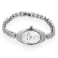 Bracelet Style Cubic Zirconia Oval Mother of Pearl Dial Stainless Steel
