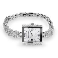Bracelet Style Cubic Zirconia Square Mother of Pearl Dial Stainless Steel