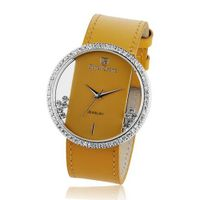 Cubic Zirconia Bezel Clear Glass Dial Orange Leather