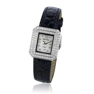 Cubic Zirconia Bezel Mother of Pearl Dial Stainless Steel Navy Blue Leather