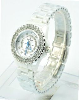 Royal Crown 3821-2W Jewelry Waterproof Round Dial White Ceramic Strap