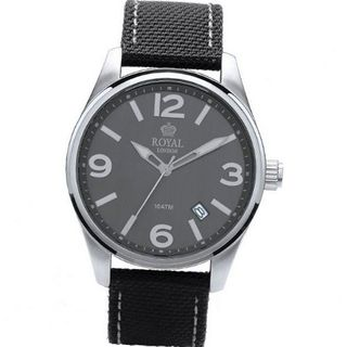 Royal London Gents Calendar Grey Dial Black Webbing Leather Strap 41202-04