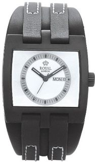 Royal London Quartz with White Dial Analogue Display and Black Leather Strap 40124-04