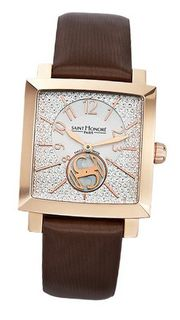 Saint Honore 863017 8PABR Orsay Rectangular Rose Gold Plated Pave Style Dial Satin