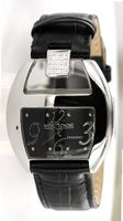 "Saint Honore ""Charisma"" Black Leather Strap, Diamonds 0.15 Ct - 7250111NBN"