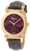 Salvatore Ferragamo F50SBQ5043 S497 Salvatore Brown Genuine Patent Leather Mother-Of-Pearl Rose Gold Plated Diamond