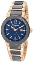 Salvatore Ferragamo F53SBQ58909 S589 F-80 Rose Gold Plated Two Tone Black Ceramic