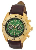 Automatic Dress Brown Leather Band Green Dial Gold Case Day Date & 24 Hour Subdials Sarastro AA100698G