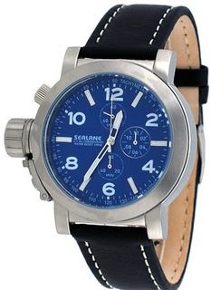 Sealane Black Leather Band Blue Dial Russian Lefty Canteen Chronograph