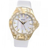 Ladies Mother of Pearl White Leather Wrist 4432
