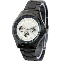 Classic Fashion Stainless Steel Round Male Elegant Personality Pointer display Mechanical movement Cool Black Strap White Surface WS3444B