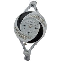 New Fashion Bangle Wrist Quartz Black-White WTH0206