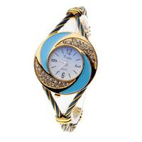 New Fashion Bangle Wrist Quartz Gold-Blue WTH0208