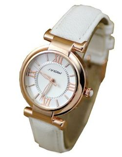 SINOBI Quartz White Genuine Leather Silver Dial Ladies Fashion #9458