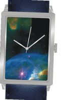 """Bubble Nebula NGC 7635"" Is the Hubble Image on the Dial of the Polished Chrome Rectangle with a Navy Blue Leather Strap"